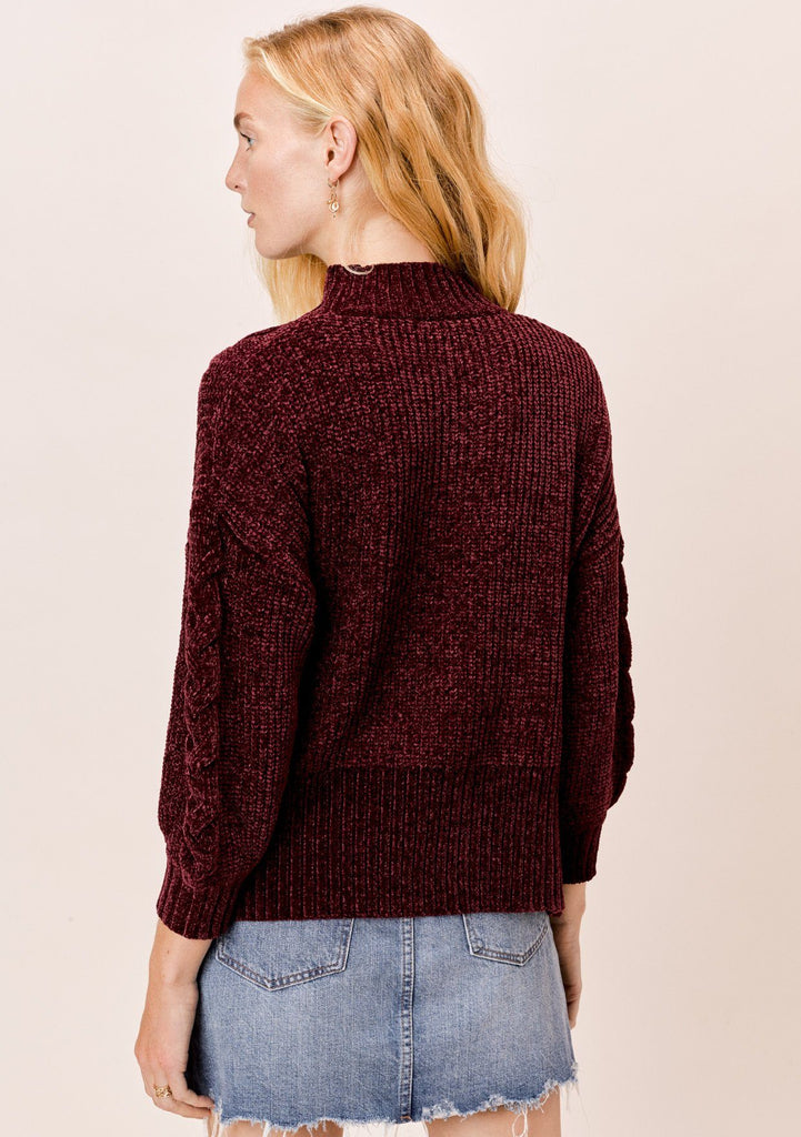 [Color: Burgundy] Lovestitch burgundy chenille, cable knit sweater with mock neck and drop shoulder