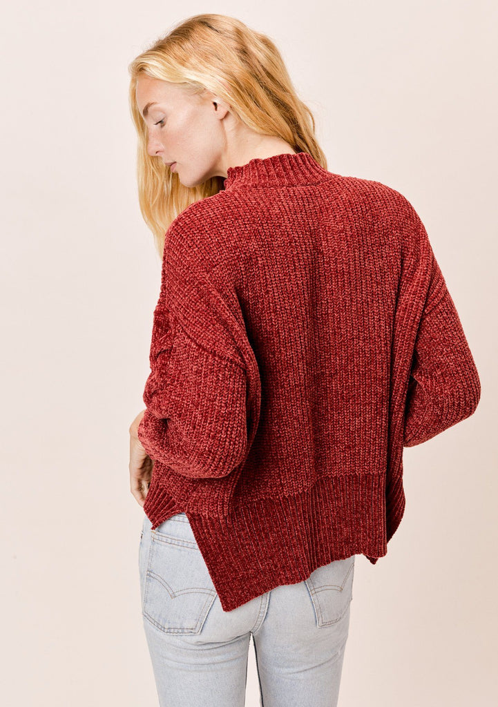 [Color: Rust] Lovestitch rust chenille, cable knit sweater with mock neck and drop shoulder