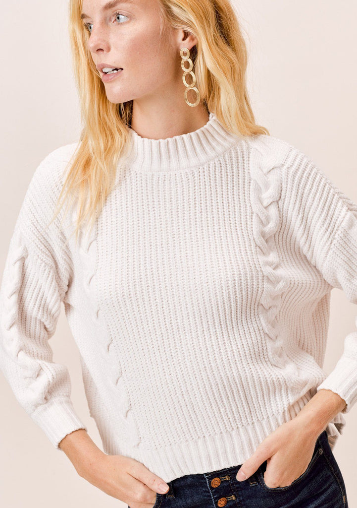 [Color: Vanilla] Lovestitch vanilla chenille, cable knit sweater with mock neck and drop shoulder