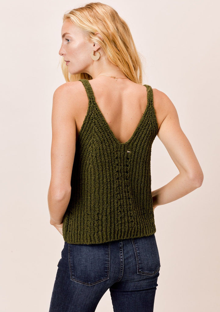 [Color: Military] Lovestitch Military Green chenille, double V-neckline, ribbed sleeveless sweater tank
