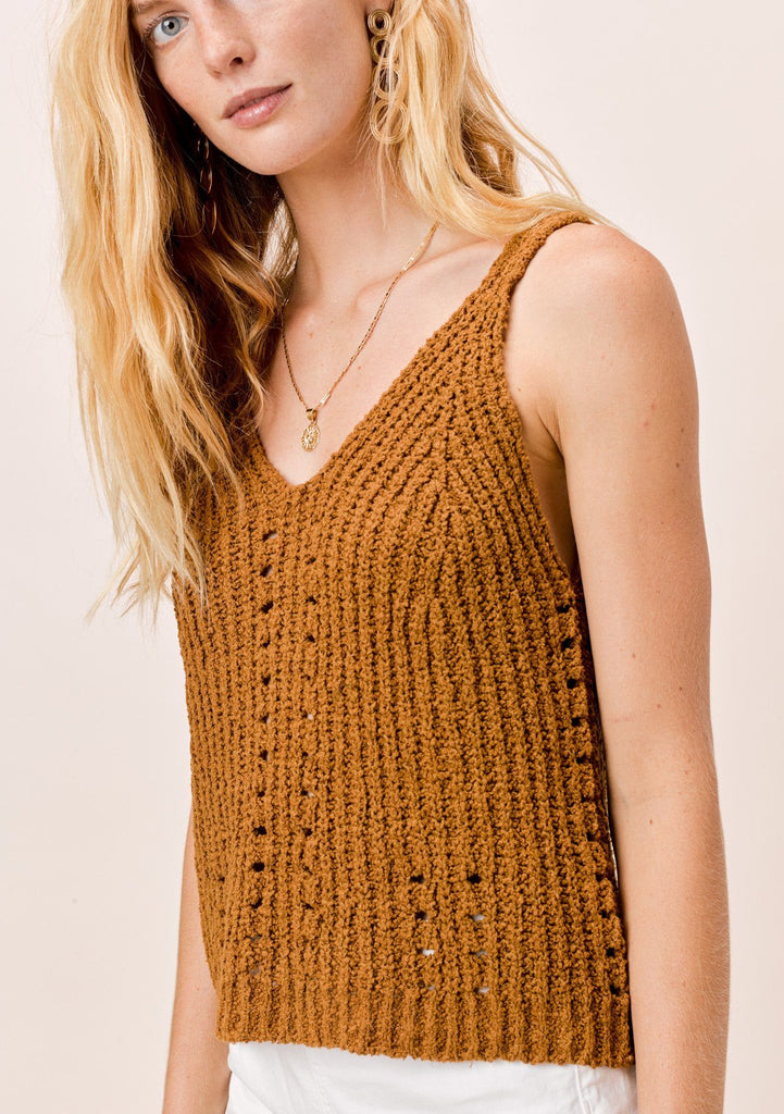 [Color: Tobacco] Lovestitch Tobacco chenille, double V-neckline, ribbed sleeveless sweater tank