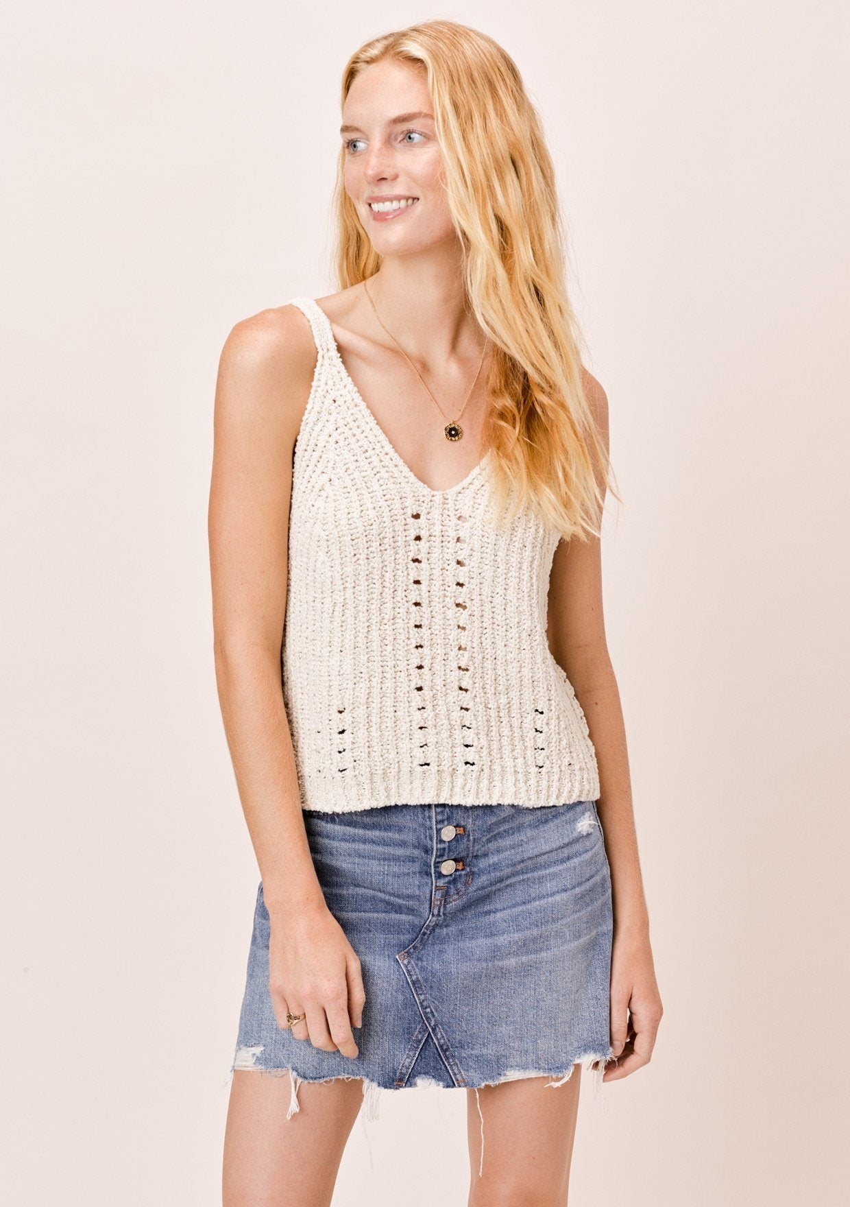 [Color: Vanilla] Lovestitch vanilla chenille, double V-neckline, ribbed sleeveless sweater tank