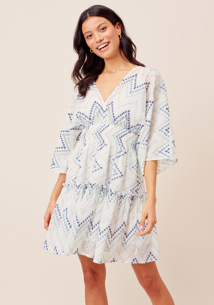 [Color: White/MultiBlue] Lovestitch kimono sleeve, embroidered eyelet chevron striped mini dress with smocked waist