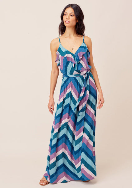 Cecily Color-Pop Ruffle Maxi Dress