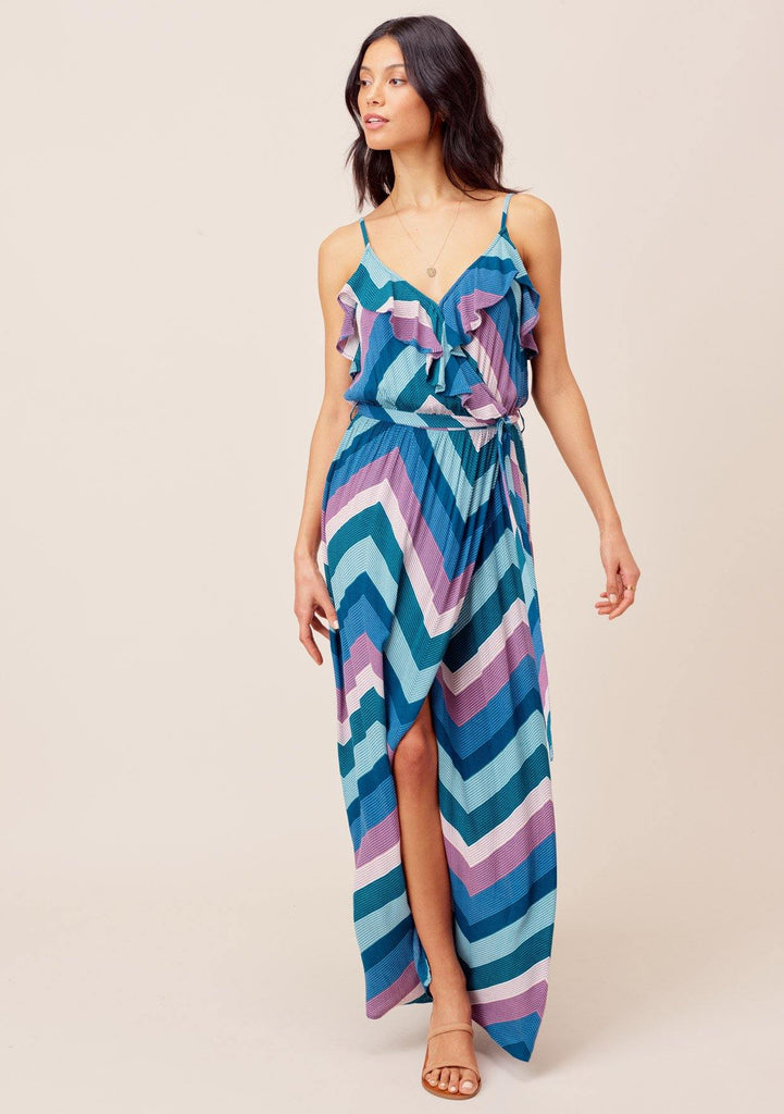 [Color: Blue/Pink/Purple] Lovestitch Blue/Pink/Purple chevron stripe maxi dress with ruffled details