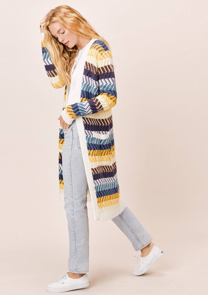 [Color: Mustard Multi] Lovestitch Chevron Stripe Open Cardigan