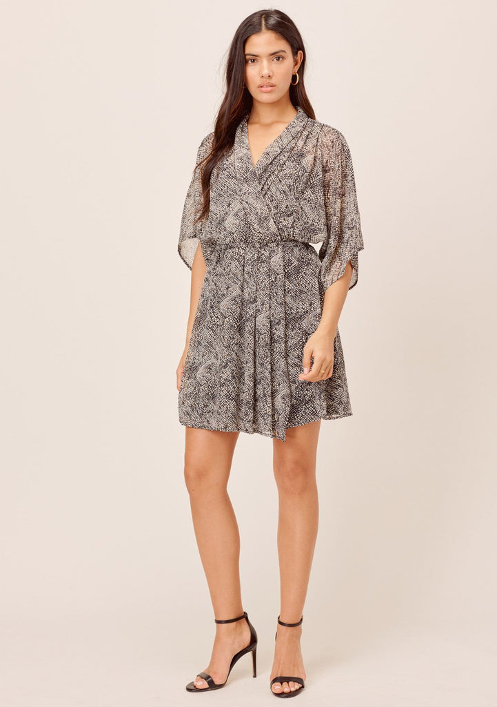 [Color: Black/Ivory] Lovestitch black/ivory Snakeskin printed, kimono sleeve mini dress with beautifully draped silhouette and metallic details.