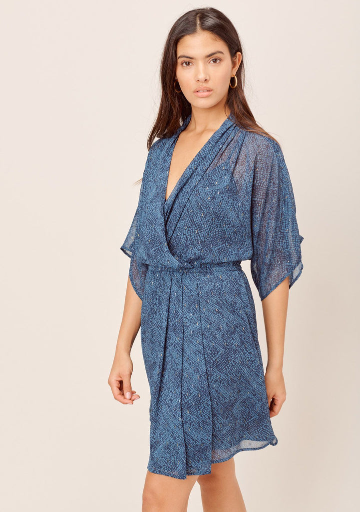 [Color: Navy/Sky] Lovestitch navy/sky Snakeskin printed, kimono sleeve mini dress with beautifully draped silhouette and metallic details.