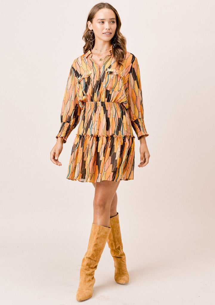 [Color: Honey Gold] Lovestitch printed, button top mini dress with three quarter length sleeves and smocked elastic waist