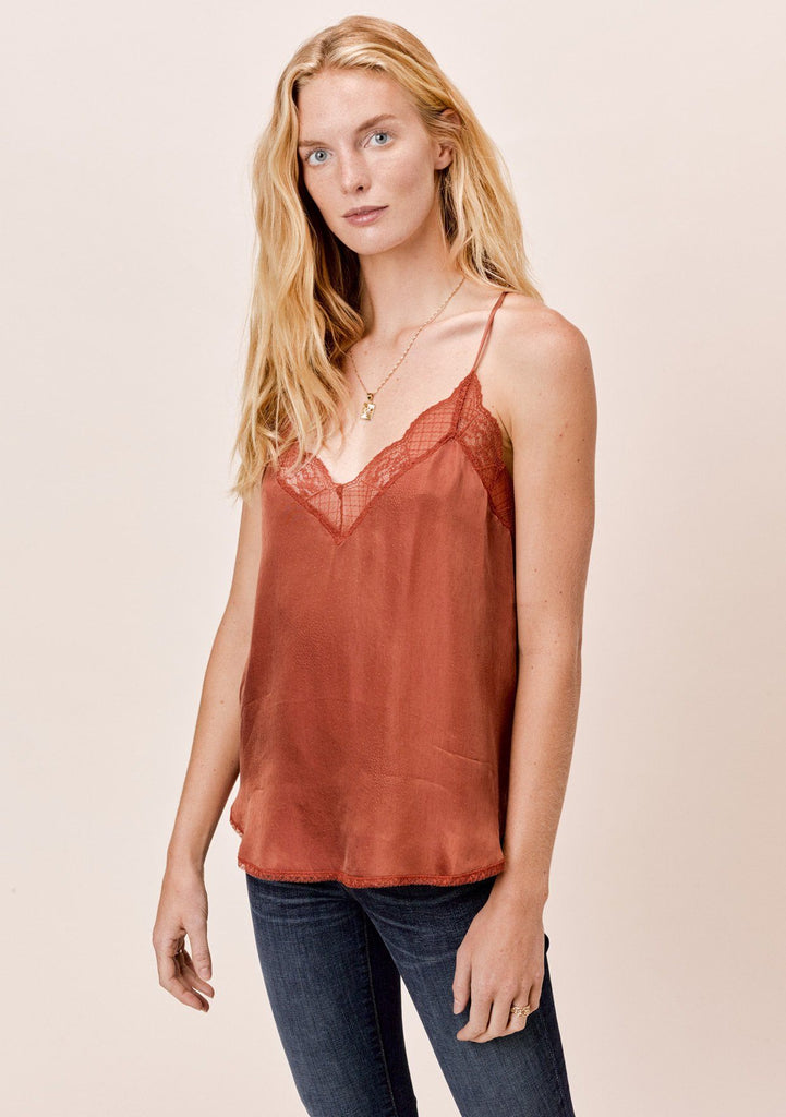 [Color: Bronze] Lovestitch silk blend lace trimmed cami in bronze orange