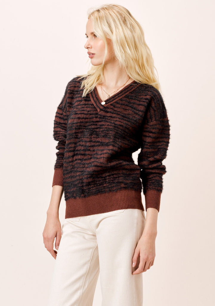 [Color: Cocoa Zebra] Lovestitch Cocoa Zebra Striped V-neckline Pullover