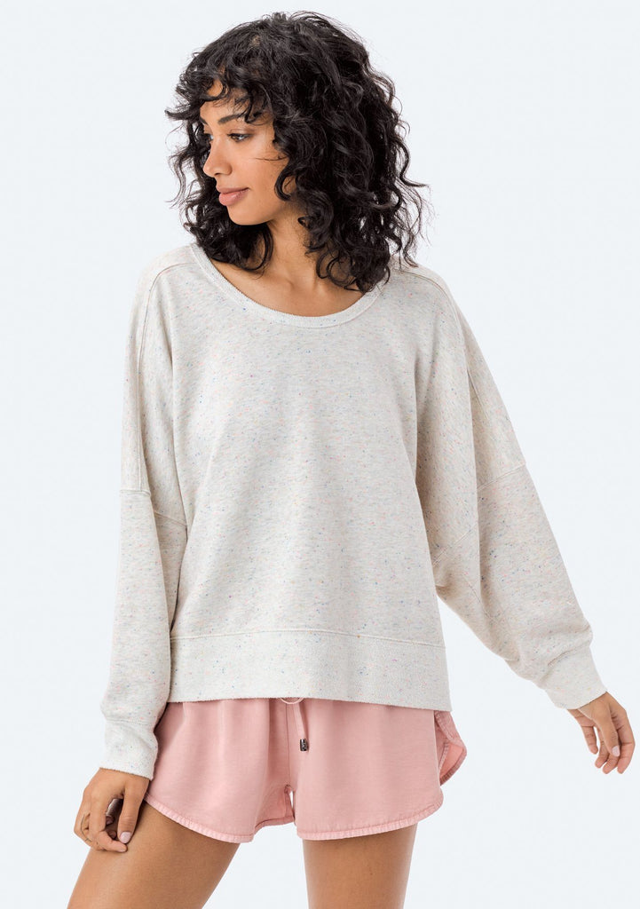 [Color: Oatmeal Confetti] Lovestitch oatmeal, relaxed-fit pullover, in a subtle multicolor, frenchterry cotton blend!