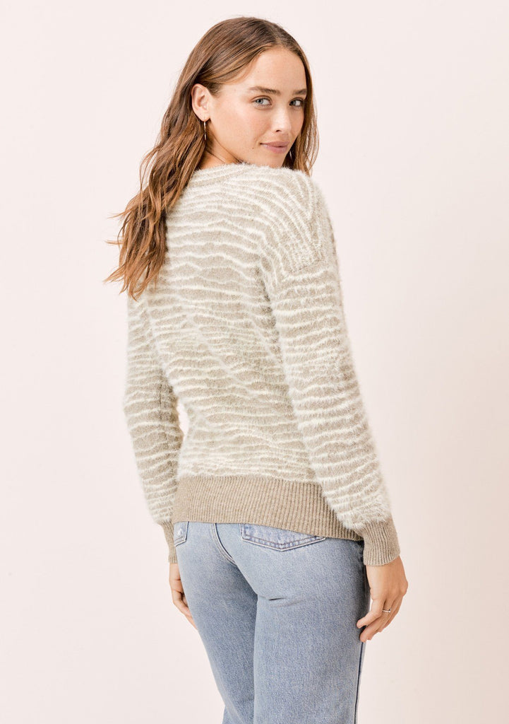 [Color: Cream Zebra] Lovestitch Cream Zebra Striped V-neckline Pullover