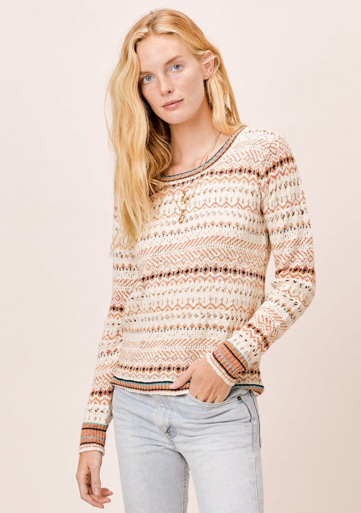 [Color: Ivory Multi] Lovestitch Tribal Crochet Sweater