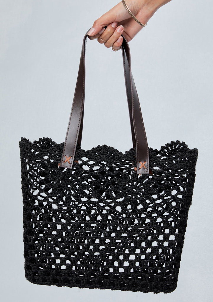 [Color: Black] Lovestitch floral crochet lace, square tote bag with scallop finish and vegan leather handles.