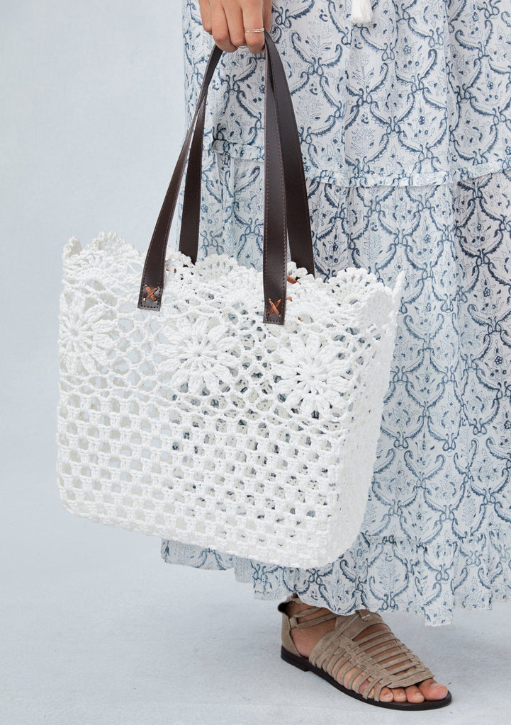 [Color: Off White] Lovestitch floral crochet lace, square tote bag with scallop finish and vegan leather handles.