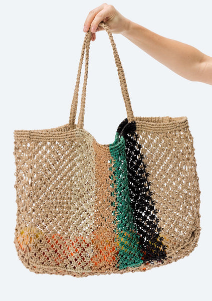 Amoray Striped Crochet Tote