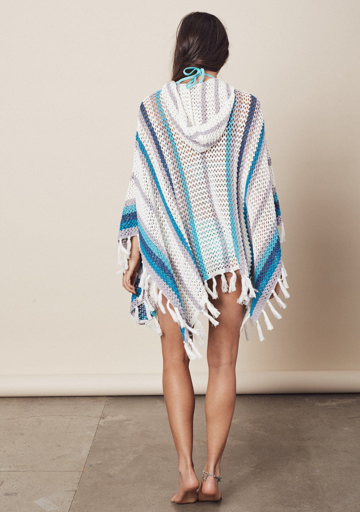 [Color: Navy/Blue/Grey] [Color: Navy/Blue/Grey] Throw it back to the seventies in our oversize multicolor stripe crochet poncho. Features a hood.