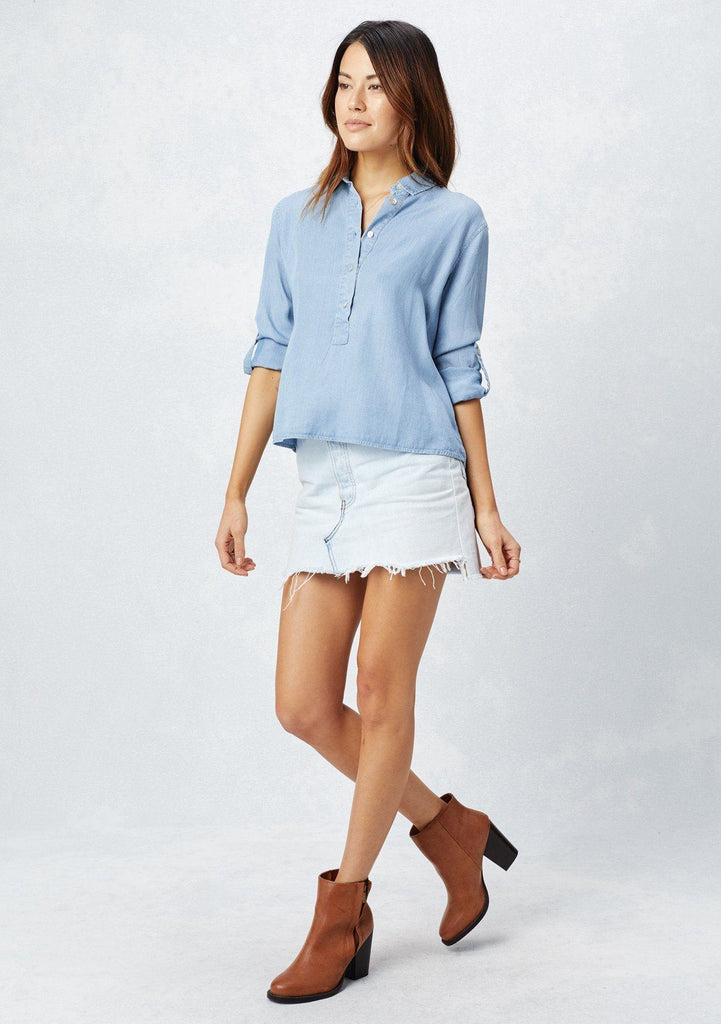[Color: Blue/OffWhite] Lovestitch collared, striped tencel, roll sleeve top with front button placket and high-low hem