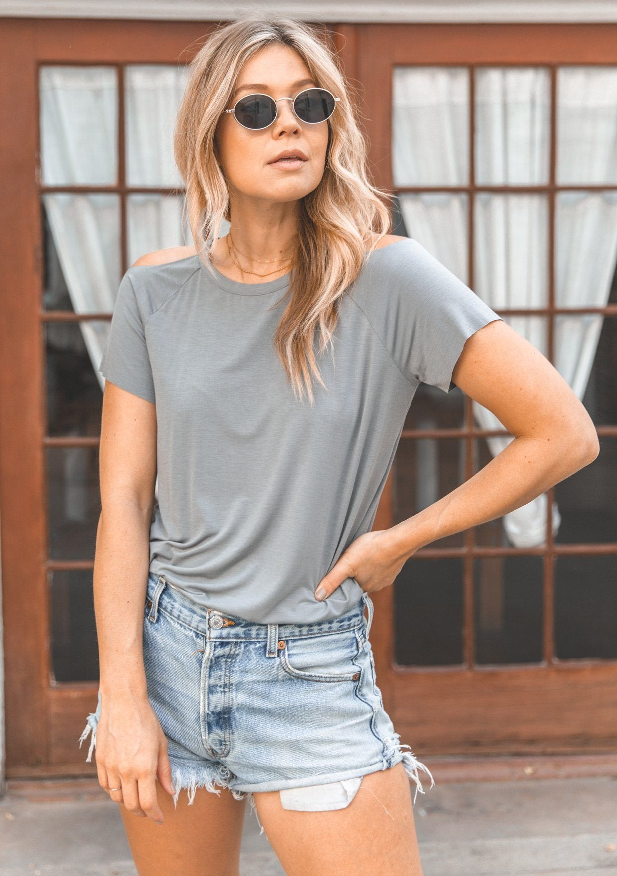[Color: Dove Grey] Lovestitch super soft, dove grey, cold shoulder tee.