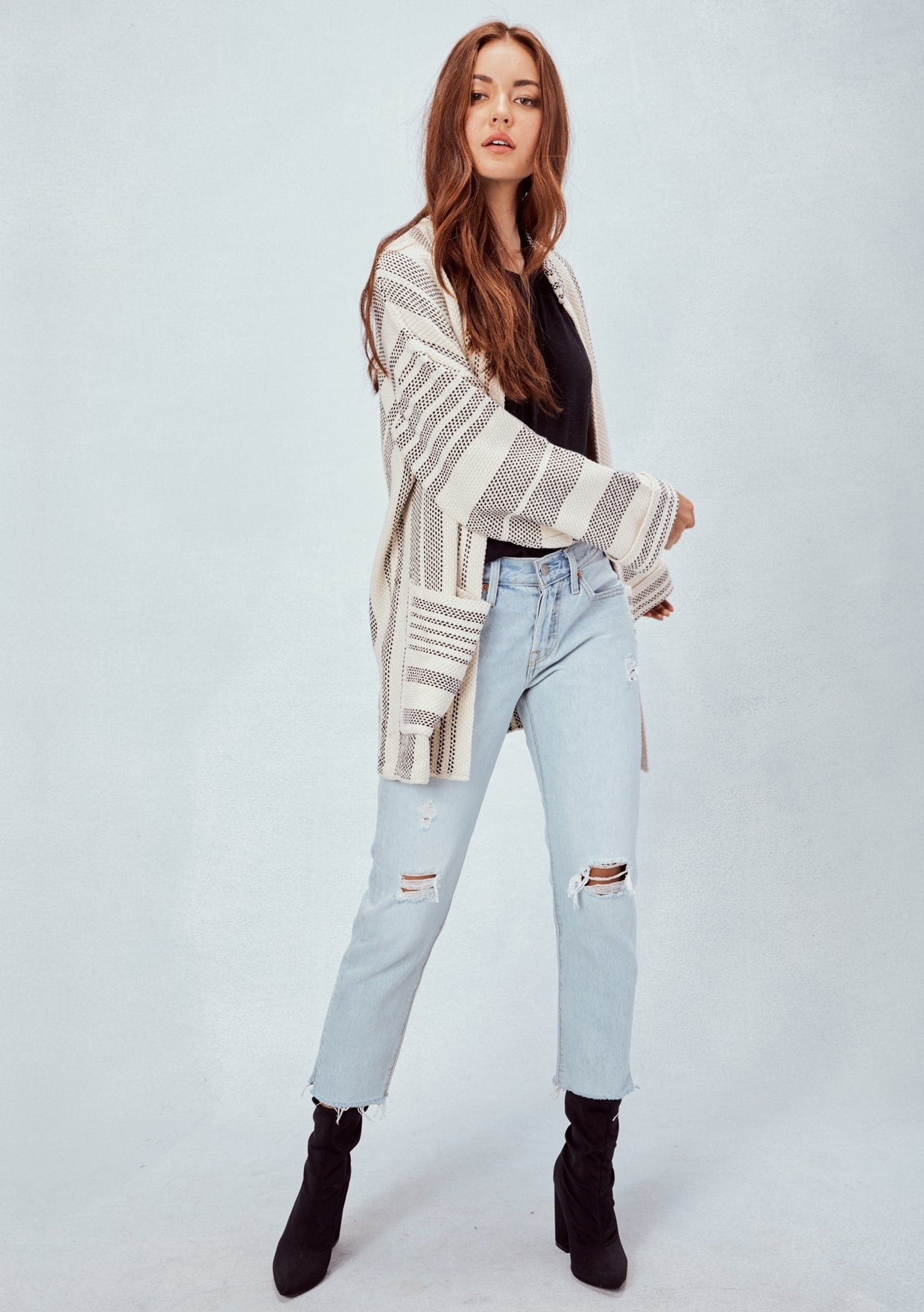 [Color: Ecru/Black] Lovestitch Ecru/Black, oversized and slouchy, striped, cotton knit cardigan