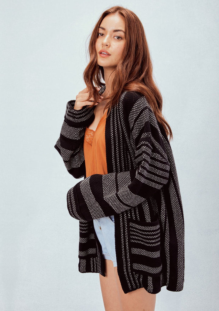 [Color: Black/White] Lovestitch Black/White, oversized and slouchy, striped, cotton knit cardigan