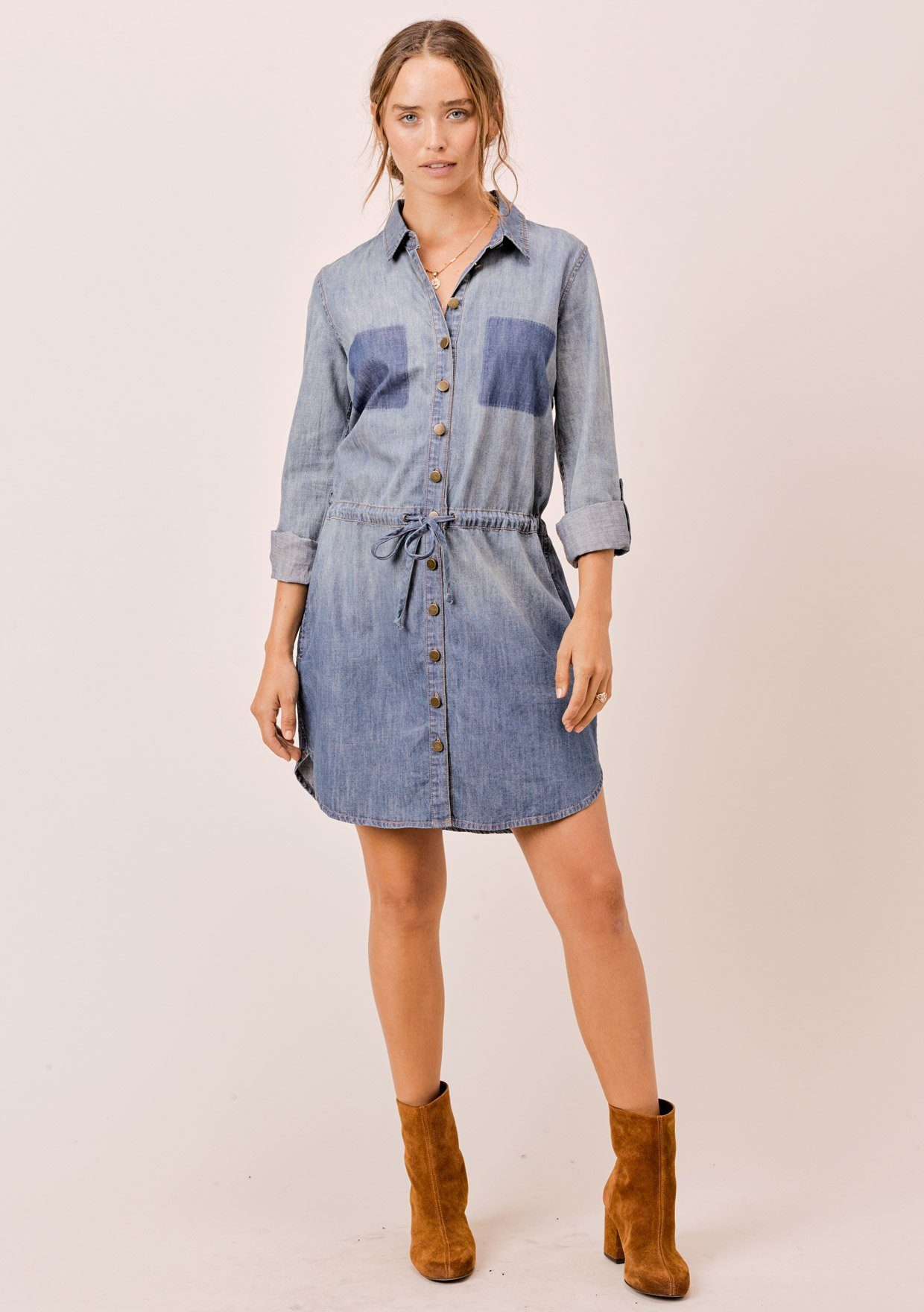 [Color: Indigo] Lovestitch Long sleeve, buttondown, cotton shirt dress with faded pocket detail.