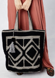 [Color: Black] Lovestitch oversized, double diamond patterned, carpet beach tote
