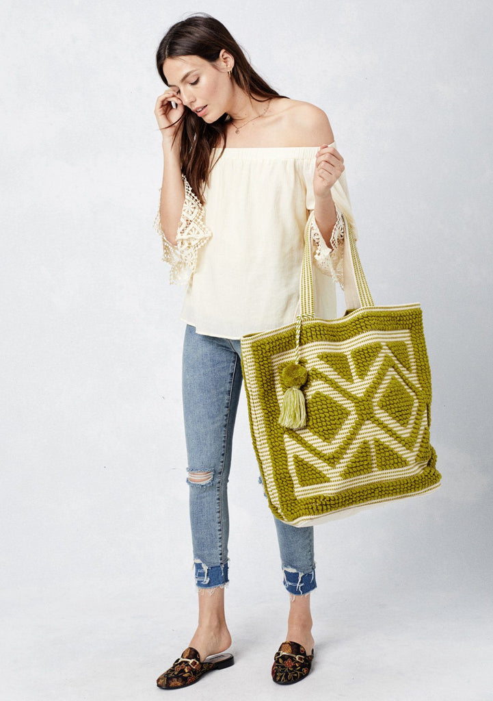 [Color: Lime Green] Lovestitch oversized, double diamond patterned, carpet beach tote