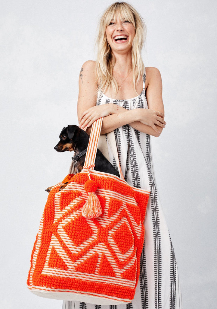 [Color: Orange] Lovestitch oversized, double diamond patterned, carpet beach tote