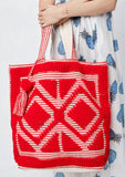 [Color: Red] Lovestitch oversized, double diamond patterned, carpet beach tote