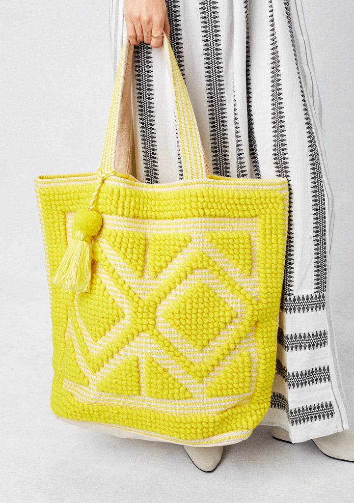 [Color: Yellow] Lovestitch oversized, double diamond patterned, carpet beach tote