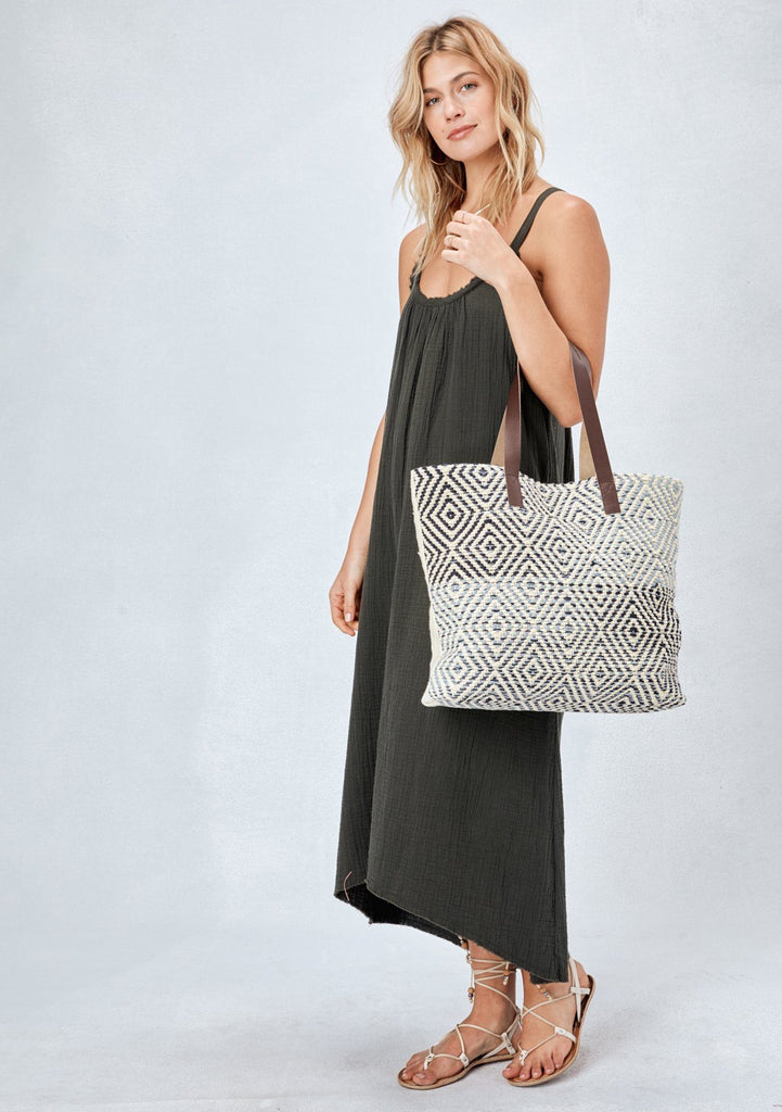 [Color: Natural] Lovestitch diamond embroidered, beautifully made, cotton tote bag with sustainable & comfy, vegan leather handles
