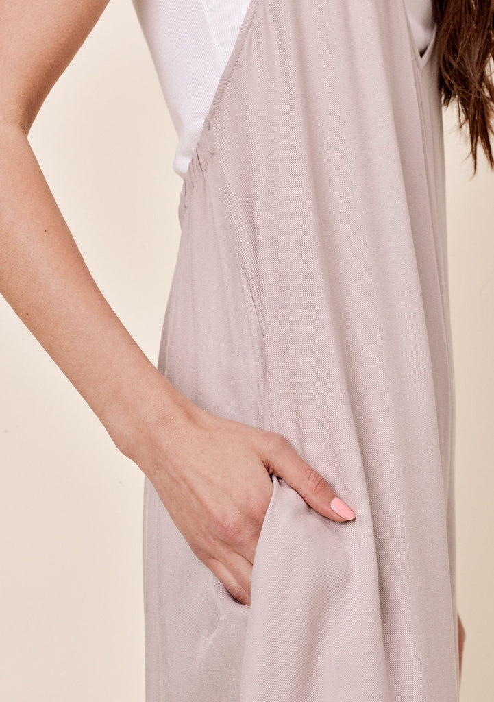 [Color: Taupe] Lovestitch wide-leg, twill halter jumpsuit.