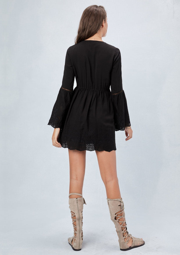 [Color: Black] Lovestitch black embroidered eyelet mini dress with romantic bell sleeves, scalloped hem, lace and lattice trim details
