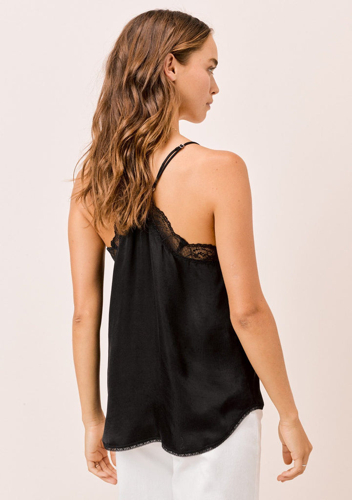 [Color: Black] Lovestitch silk blend lace trimmed cami in black