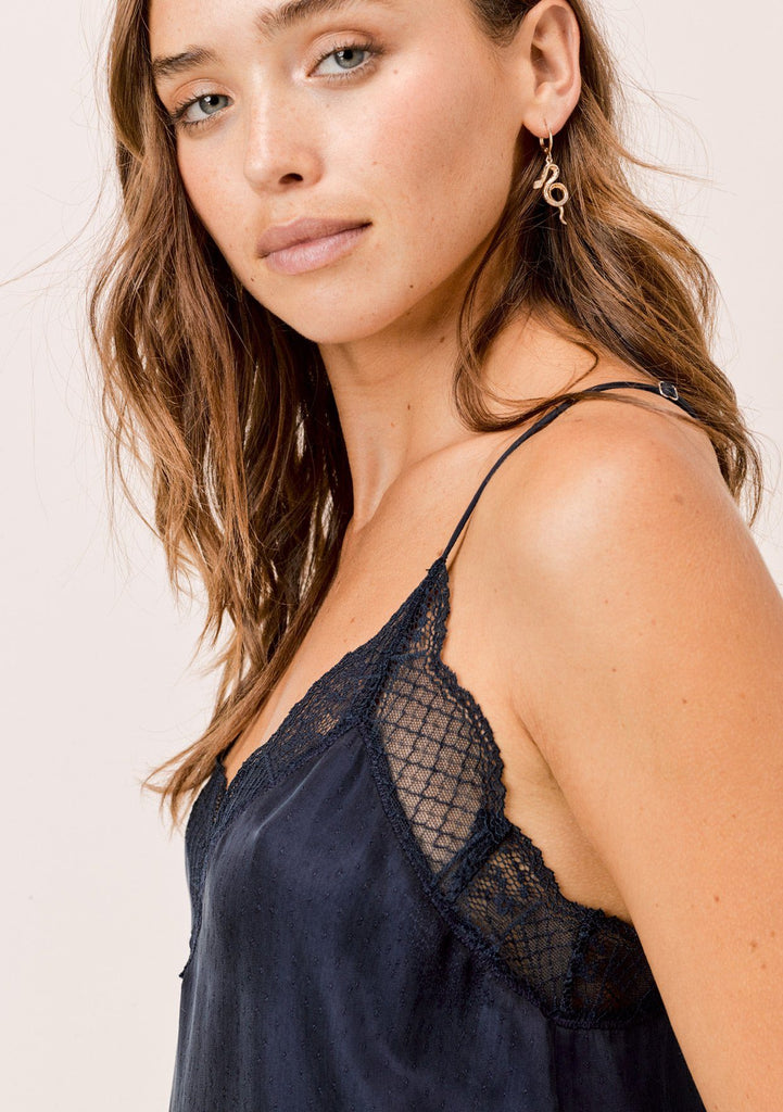 [Color: Midnight] Lovestitch silk blend lace trimmed cami in midnight