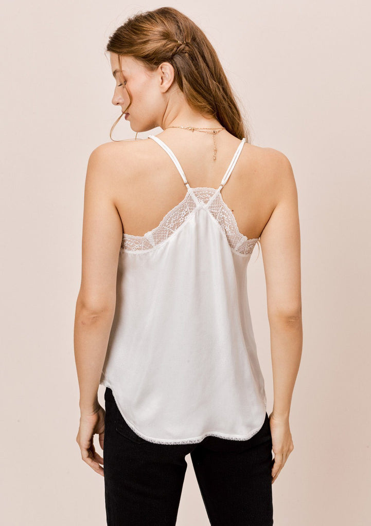 [Color: Snow] Lovestitch silk blend lace trimmed cami in snow