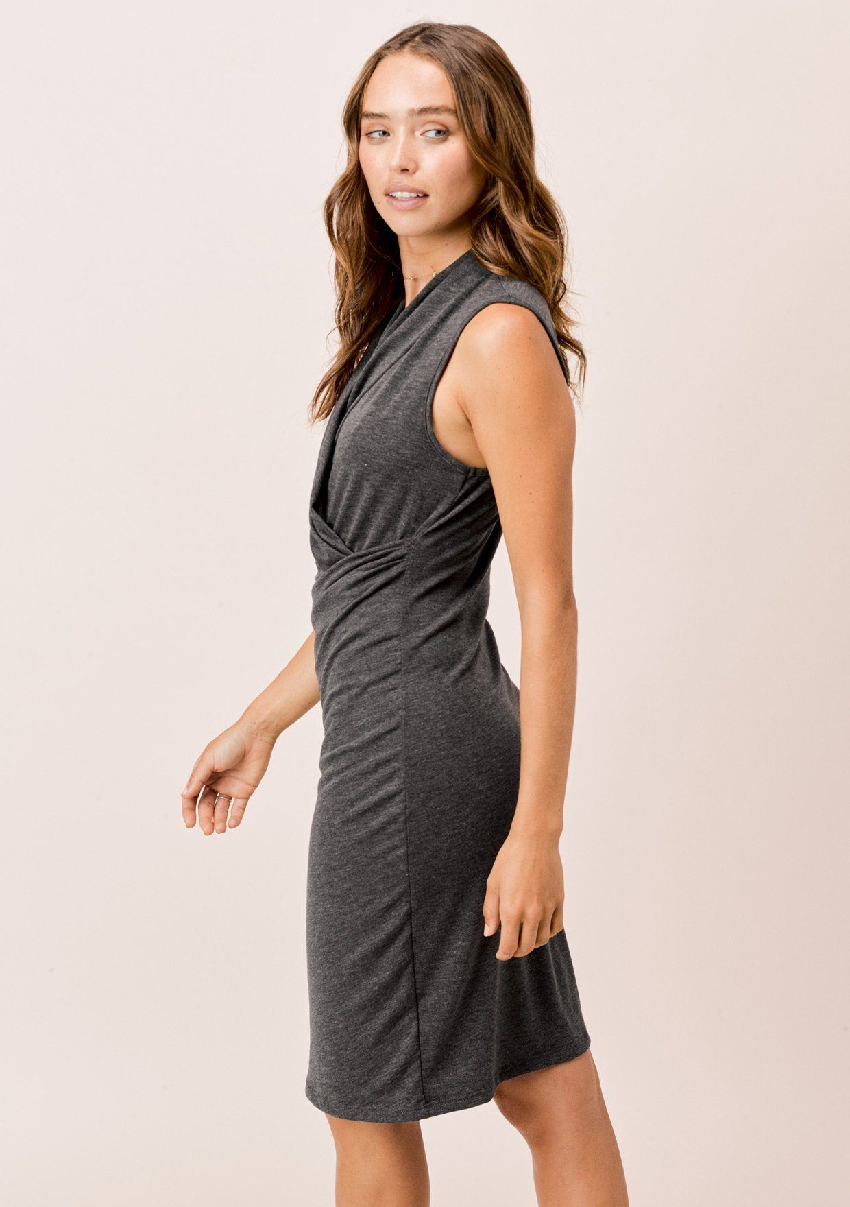 [Color: Charcoal] Lovestitch Draped Front Slim Fit Dress
