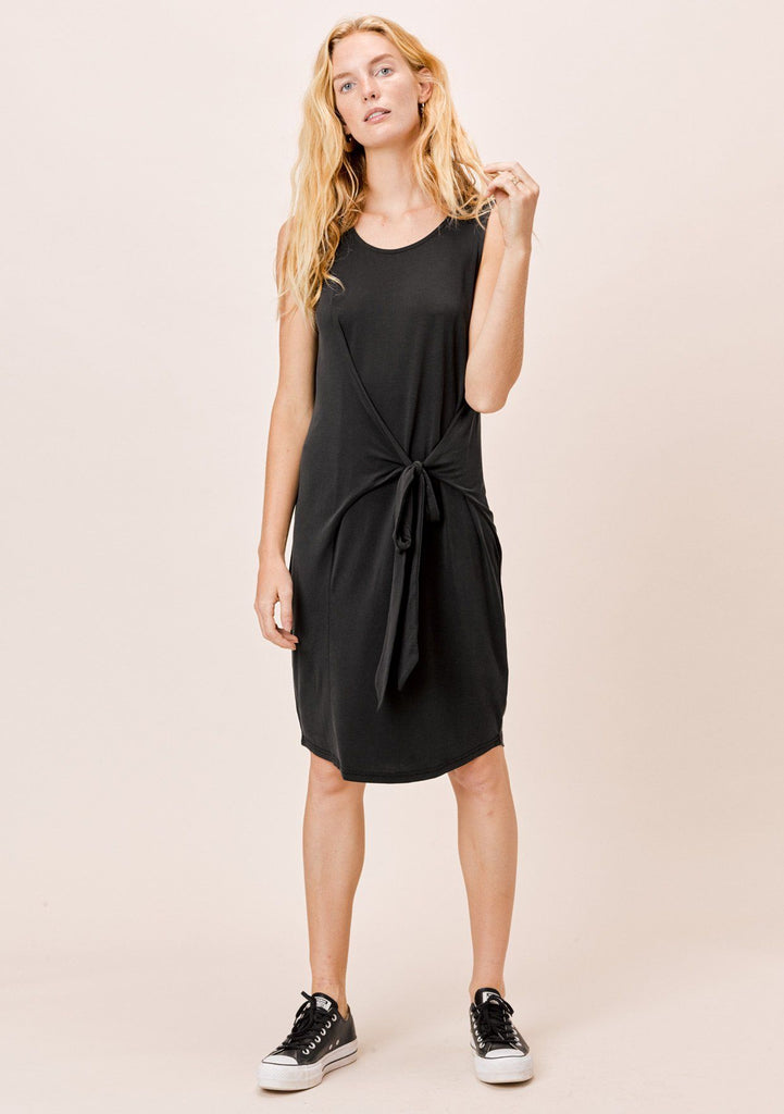 [Color: Black] Lovestitch Modal blend black sleeveless tee dress with draped tie front
