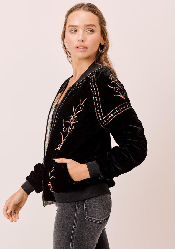 [Color: Black Multi] Lovestitch super soft, velvet bomber jacket with embroidery.