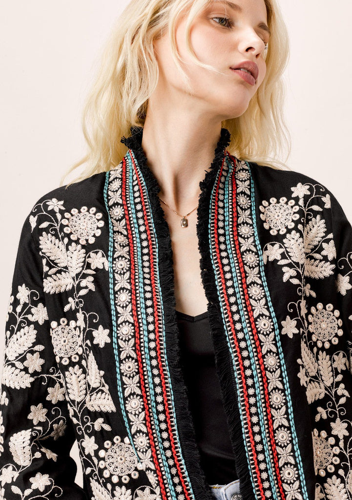 [Color: Black Multi] Lovestitch cropped embroidered jacket with 3/4 length sleeves