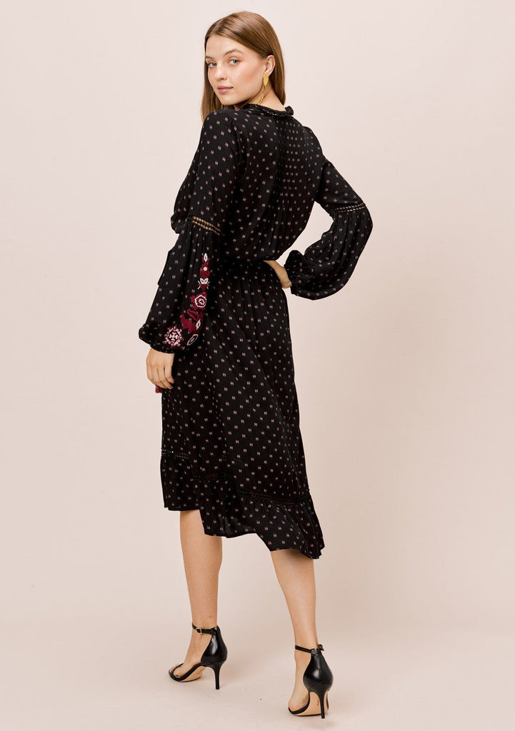 [Color: Black/Merlot] Lovestitch black/merlot long sleeve, embroidered dress with lattice trim and pintuck detail.