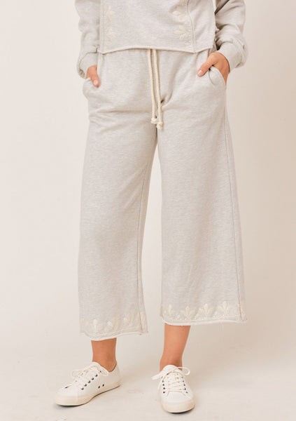 Charli Embroidered Wide-Leg Pant