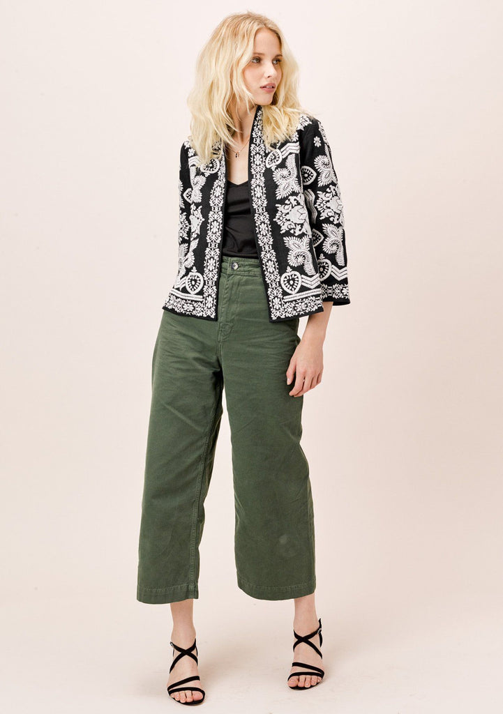 [Color: Black/OffWhite] Lovestitch Embroidered, cropped jacket with 3/4 length sleeves