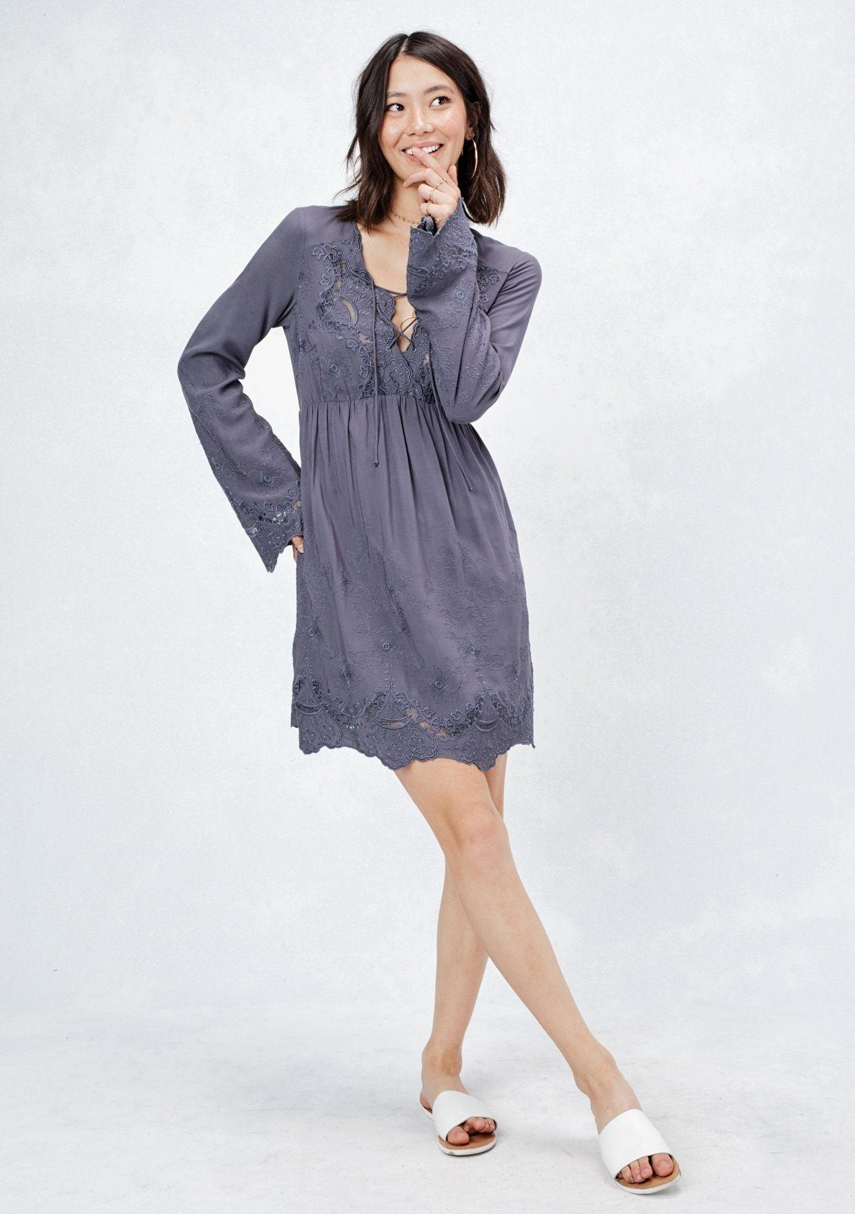 f06ea435b6 [Color: Slate] Lovestitch Adorable long sleeve lace up baby doll dress with  all