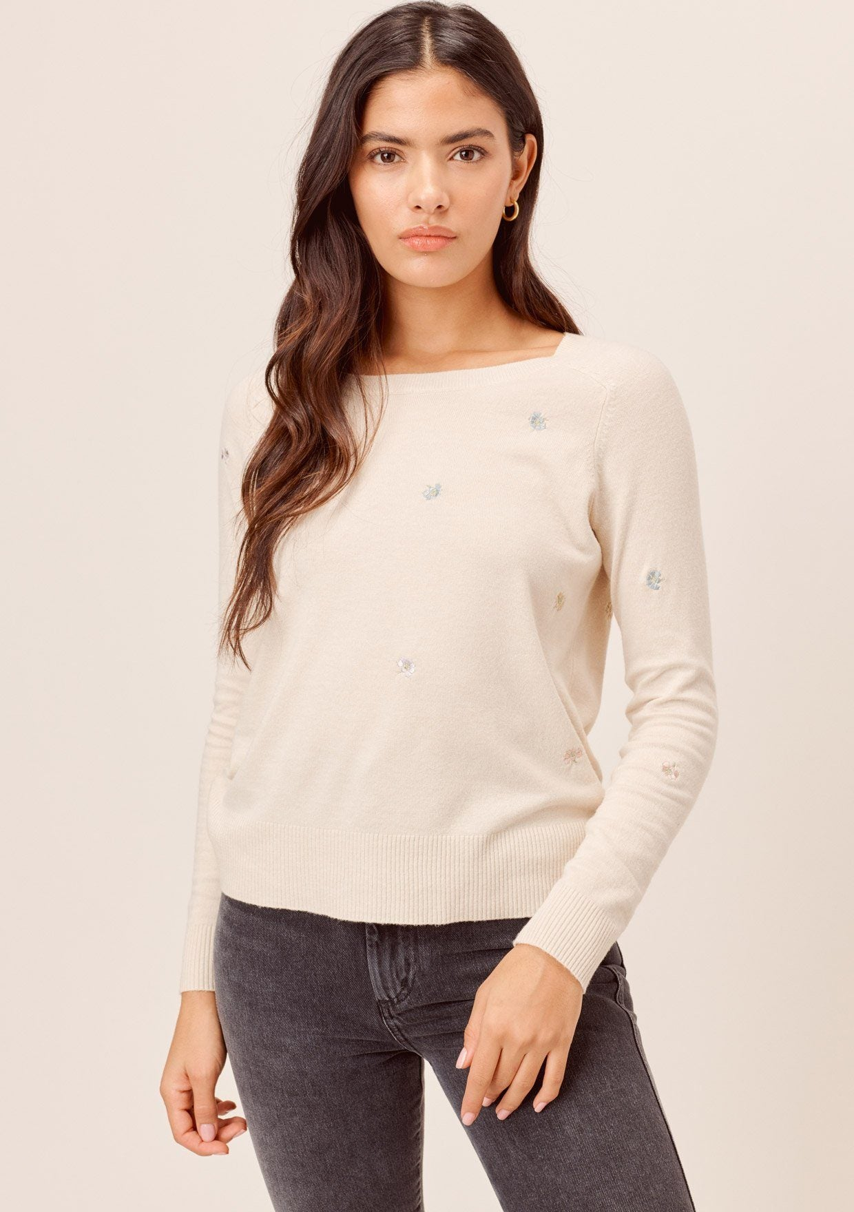 [Color: Bone] Lovestitch bone Super soft, long sleeve, crew neck pullover with all-over embroidered flowers.