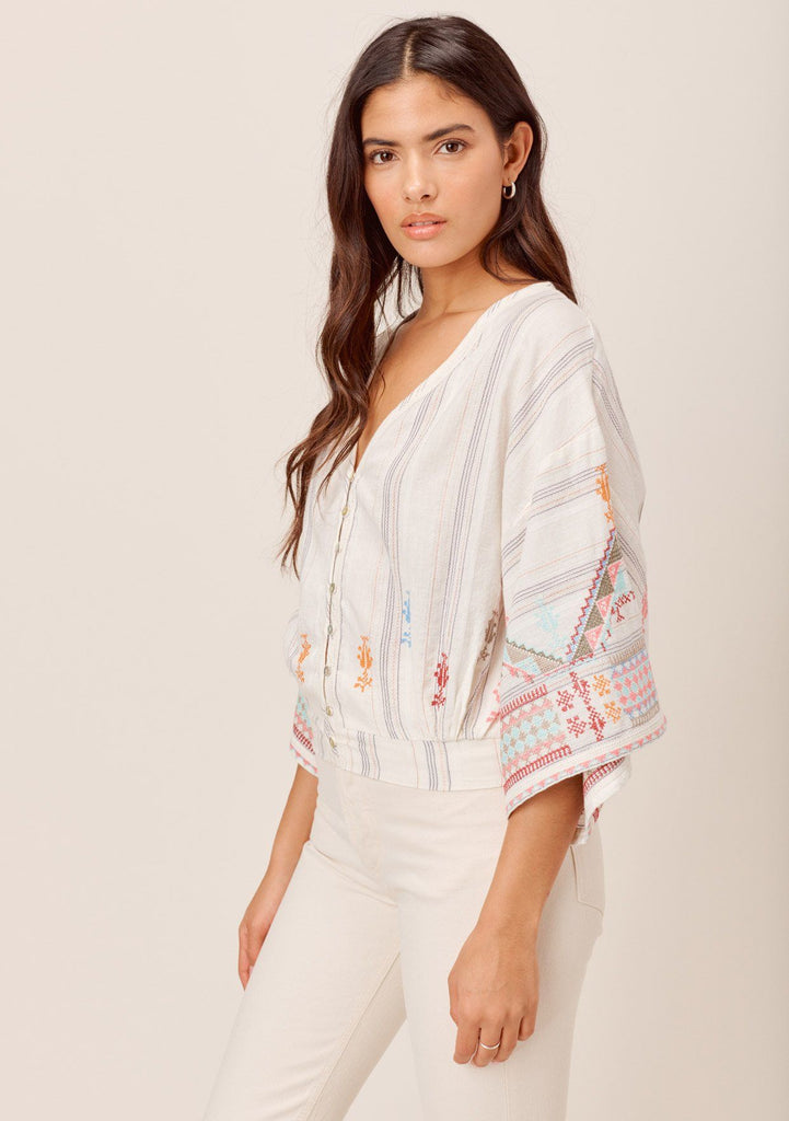 [Color: OffWhite/Multi] Lovestitch Bohemian, button front top with multi colored embroidery, metallic details and volume short sleeve.