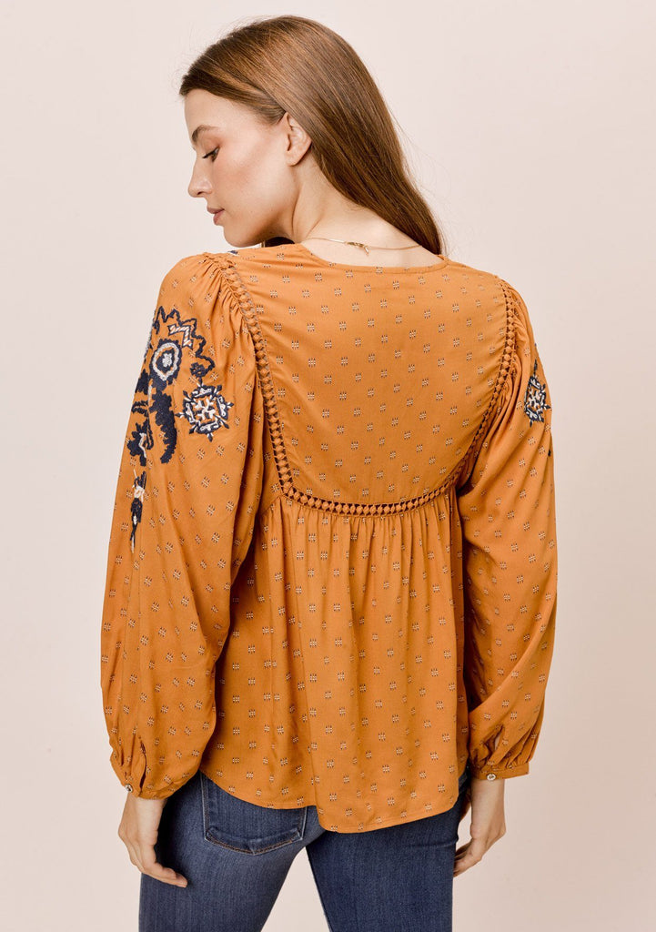 [Color: Mustard/Navy] Lovestitch mustard/navy embroidered top with lattice inserts and tassel tie neck