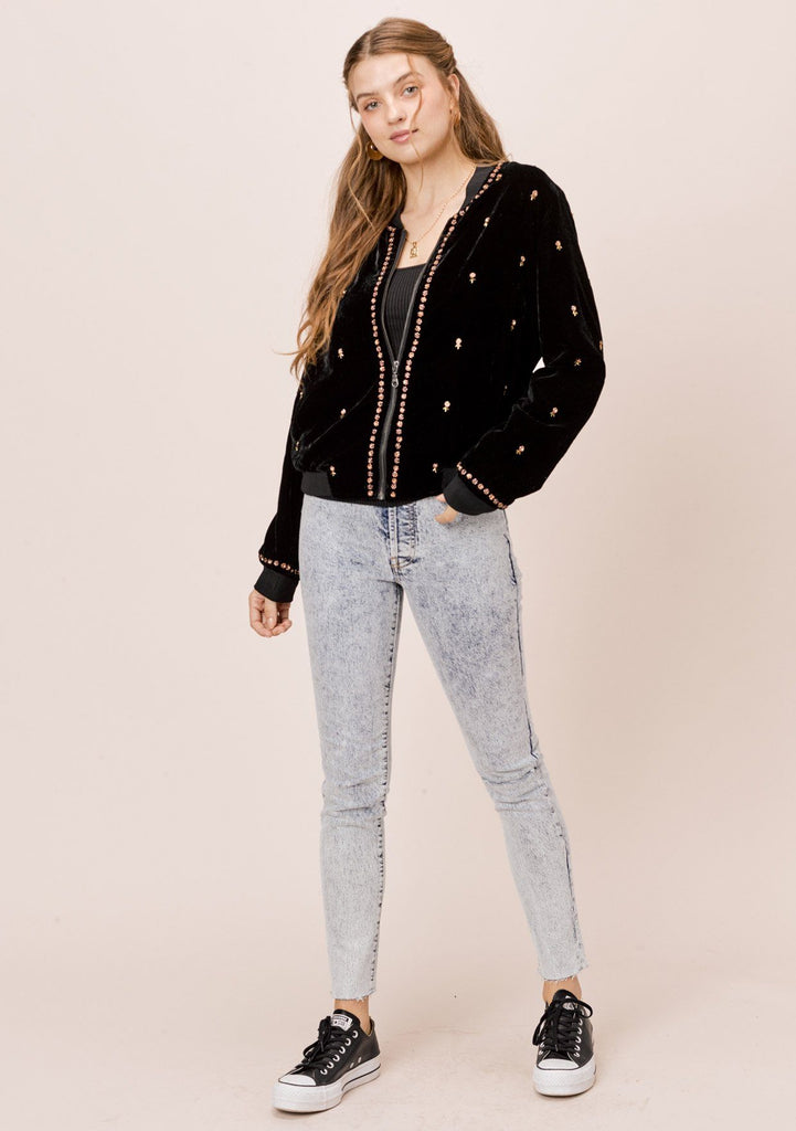 [Color: Black/Bronze] Lovestitch Super soft, velvet bomber jacket with beaded detail.
